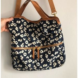 Fossil Denim Blue Cheetah Print Foldover Crossbody